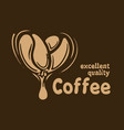 logo with coffee beans drawn on a dark