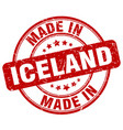 made in iceland red grunge round stamp vector image vector image