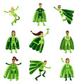 male and female eco superheroes characters set vector image vector image