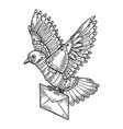 mechanical mail pigeon bird animal engraving vector image vector image