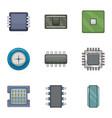 microchip icons set cartoon style vector image