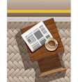 morning coffee and newspaper at street cafe vector image vector image