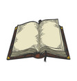 open book color sketch engraving vector image