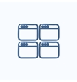 Opened browser windows sketch icon vector image vector image