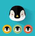 penguin portrait with flat design vector image vector image
