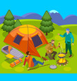 pitch camp outdoor composition vector image vector image