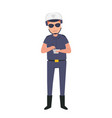 police officer on duty in the highway vector image vector image