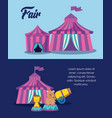 set circus tents with cute animals vector image