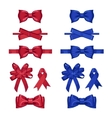 set gift bows isolated with ribbons vector image