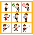 Set of 9 businessman in difference action eps10 vector image