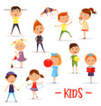 set of isolated children or kids at their activity vector image vector image