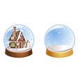 two christmas snow globes with snowflakes isolated vector image