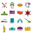 usa icons doodle set vector image vector image