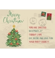 Vintage Christmas Invitation with Postage Stamps vector image vector image