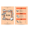 vintage creative food menu with hand drawn graphic vector image vector image