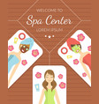 welcome to spa center banner young women enjoying vector image