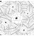 white camellia flower outline on white background vector image vector image