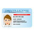 woman driver license card cartoon style vector image
