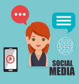 woman with social media icon vector image vector image