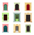 outdoor view on classic doors or entrance exit vector image