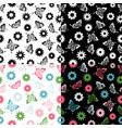 set butterflies seamless pattern flowers vector image