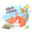 a cute cartoon fox is sleeping with nest vector image vector image