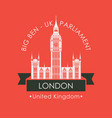 banner with big ben in london united kingdom uk vector image vector image
