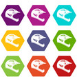 bicycle helmet icon set color hexahedron vector image vector image