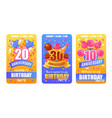 birthday anniversary cards banners vector image