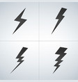 black lightning icon set isolated on modern vector image