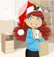 Business woman in Christmas morning office vector image vector image