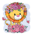 cartoon lion with flowers on a white background vector image