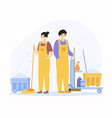 cleaning service characters professional cleaner vector image vector image