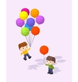 Cube World Boys with the colored baloons vector image