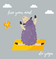 cute cartoon sheep doing some yoga exercises vector image vector image