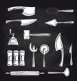 cutlery on chalkboard background vector image vector image