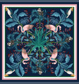 design scarf with tropical trees flamingo vector image