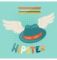 Design with hat and wings in hipster style vector image vector image
