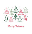 doodle christmas tree card doodle fir-trees snow vector image vector image