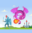 dragon fighting wild fairytale fantasy creatures vector image