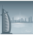 Dubai UAE skyline city silhouette Background vector image vector image