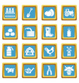farm agricultural icons set sapphirine square vector image