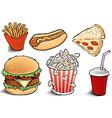 fast food items-hamburger fries hotdog vector image vector image