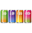 four cans of different kind of fruit juice vector image
