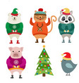 funny flat design animals dressed for christmas vector image