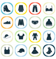 garment icons set with gumshoes sundress vector image