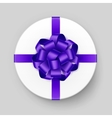 Gift Box with Violet Bow and Ribbon Top View vector image vector image