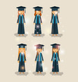 group of female students graduates characters vector image vector image