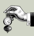 hand with an old clock retro pocket watch vector image vector image