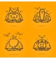 Happy halloween concept icons in line style with vector image vector image